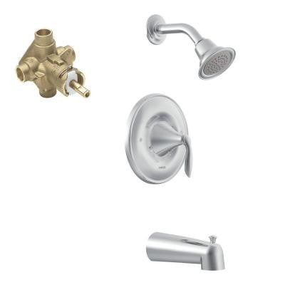 Eva 1-Handle Posi-Temp Tub and Shower Faucet Trim Kit in Chrome - Valve Included