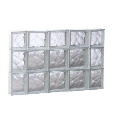 34.75 in. x 21.25 in. x 3.125 in. Non-Vented Wave Pattern Glass Block Window
