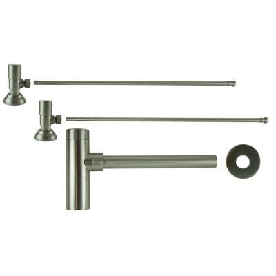 3/8 in. x 20 in. Brass Lavatory Supply Lines with Round Handle Shutoff Valves and Decorative Trap in Brushed Nickel