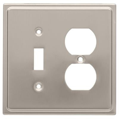 Country Fair 1 Toggle Switch and 1 Duplex Wall Plate - Satin Nickel