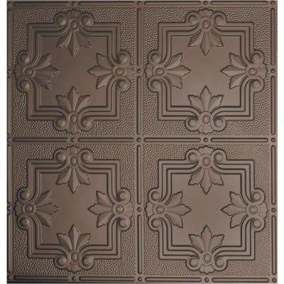 Dimensions 2 ft. x 2 ft. Bronze Lay-in Tin Ceiling Tile for T-Grid Systems