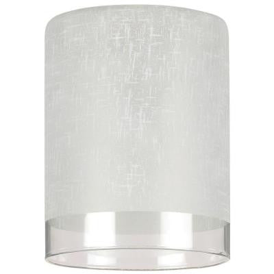 5-1/8 in. Hand-Blown White Linen Cylinder Shade with Translucent Band with 2-1/4 in. Fitter and 3-15/16 in. Width
