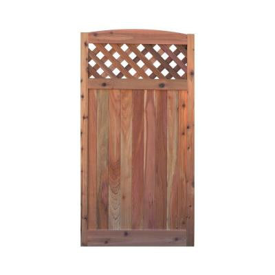 3 ft. W x 6 ft. H Western Red Cedar Arch Top Diagonal Lattice Fence Gate