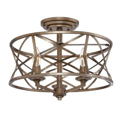 3-Light Vintage Gold Semi-Flush Mount Light