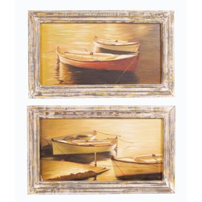 "16 in. x 27.5 in. ""Row Boat Prints"" Framed Wall Art"