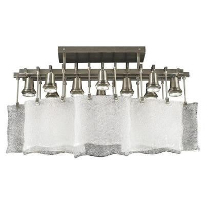 10-Light Ceiling Light Satin Nickel Frost Glass Flush Mount