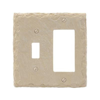 Faux Slate 1 Toggle 1 Decora Wall Plate - Almond