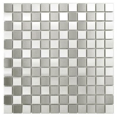 Alloy Square Checkerboard 12 in. x 12 in. x 8 mm Stainless Steel Over Porcelain Mosaic Wall Tile