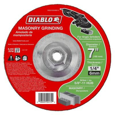 7 in. x 1/4 in. x 5/8-11 in. Masonry Grinding Disc with Type 27 Depressed Center HUB (5-Pack)