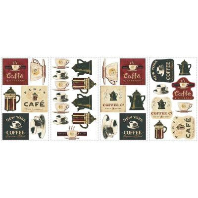 18 in. x 40 in. Coffee House 31-Piece Peel and Stick Wall Decals