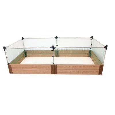 Two Inch Series 4 ft. x 8 ft. x 11 in. Composite Raised Garden Bed Kit with Animal Barrier