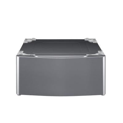 Laundry Pedestal with Storage Drawer in Graphite Steel