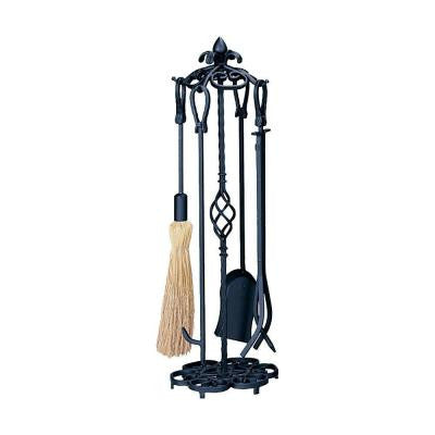 Heavy Weight Black Wrought Iron 5-Piece Fireplace Tool Set