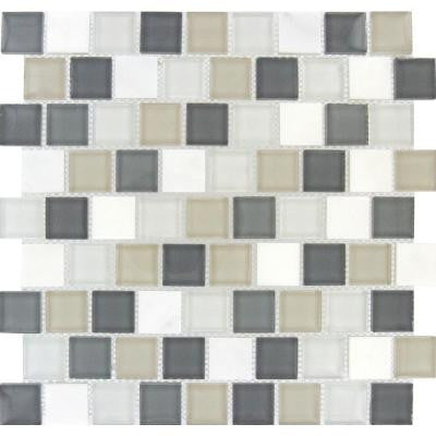 Glacier Peak 1.25 in. x 1.25 in. x 8 mm Glass Stone Mesh-Mounted Mosaic Tile
