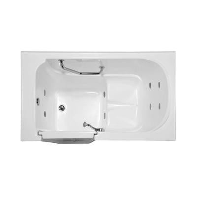 Lifestyle 4.3 ft. Reversible Drain Walk-In Whirlpool Tub in White