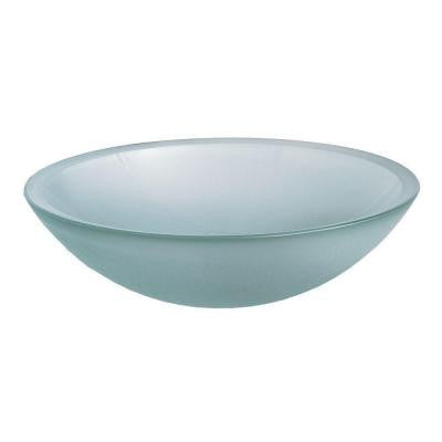 Dorian Console Vessel Sink in Clear Frosted Glass