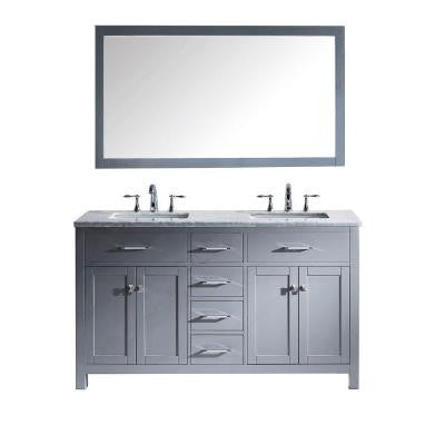 Caroline 60.8 in. Double Vanity in Grey with Marble Vanity Top and Mirror in Italian Carrera White