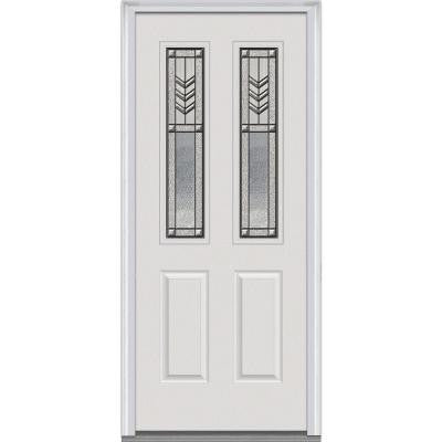 32 in. x 80 in. Prairie Bevel Decorative Glass 2 Lite 2-Panel Primed White Fiberglass Smooth Prehung Front Door