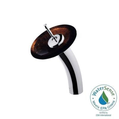 Single Hole 1-Handle Waterfall Faucet in Chrome with Russet Glass Disc