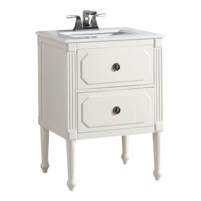 Versaille 24 in. Vanity in White with Quartz Marble Vanity Top in White