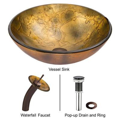 Shapes Vessel Sink in Copper with Waterfall Faucet in Browns/Golds