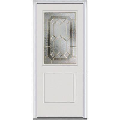 36 in. x 80 in. Majestic Elegance Decorative Glass 1/2 Lite 1-Panel Primed White Fiberglass Smooth Prehung Front Door