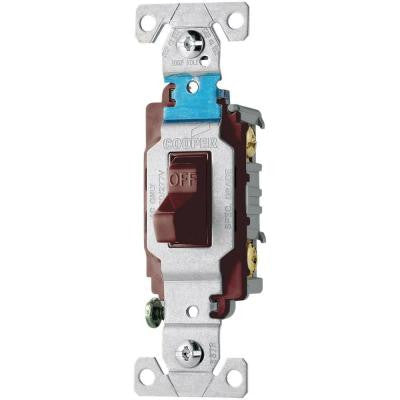 20 Amp 120/277-Volt Side Wire Compact Toggle Switch - Brown