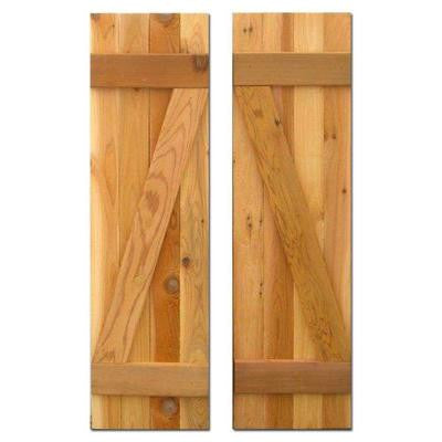 12 in. x 25 in. Board-N-Batten Shutters Pair Natural Cedar