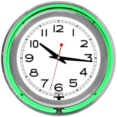 3 in. x 14 in. Green Double Ring Neon Clock