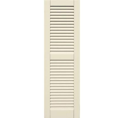 Wood Composite 15 in. x 50 in. Louvered Shutters Pair #651 Primed/Paintable