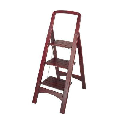 Rockford 3-Step Mahogany Wood Step Stool Ladder with 225 lb. Load Capacity Type II Duty Rating
