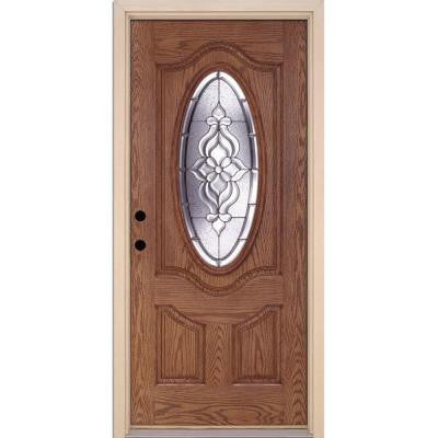 37.5 in. x 81.625 in. Lakewood Zinc 3/4 Oval Lite Stained Medium Oak Fiberglass Prehung Front Door