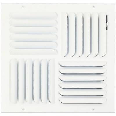 12 in. x 12 in. Ceiling or Wall Register with Curved 4-Way Deflection, White