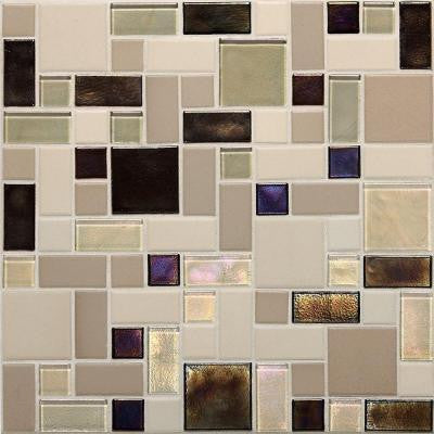 Coastal Keystones Sunset Cove Random Joint 12 in. x 12 in. x 6 mm Glass Mosaic Floor and Wall Tile