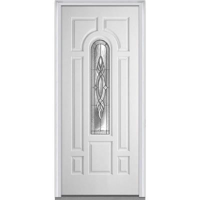 36 in. x 80 in. Brentwood Decorative Glass 3/4 Lite 7-Panel Primed Fiberglass Smooth Prehung Front Door