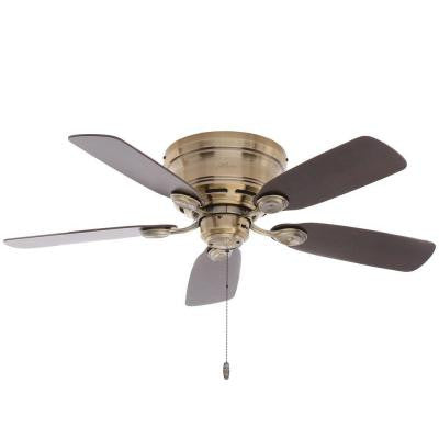 Low Profile 42 in. Indoor Antique Brass Ceiling Fan