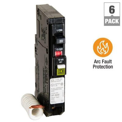 QO 20 Amp Single-Pole CAFCI Circuit Breaker (6-Pack)