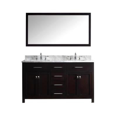 Caroline 60 in. Double Square Basin Vanity in Espresso with Marble Vanity Top in Italian Carrera White and Mirror