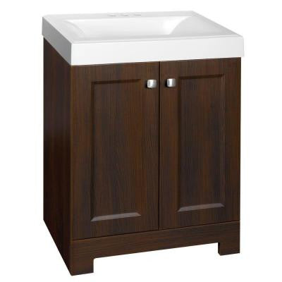 Shaila 24-1/2 in. W x 16-1/2 in. D Vanity in Truffle with Cultured Marble Vanity Top in White with White Basin