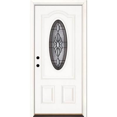 37.5 in. x 81.625 in. Sapphire Patina 3/4 Oval Lite Unfinished Smooth Fiberglass Prehung Front Door