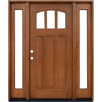 64 in. x 80 in. Craftsman 3 Lite Arch Stained Mahogany Wood Prehung Front Door with Sidelites