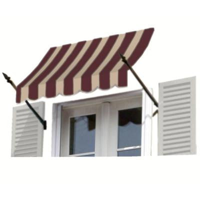 35 ft. New Orleans Awning (44 in. H x 24 in. D) in Brown / Tan Stripe
