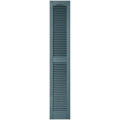 12 in. x 67 in. Louvered Vinyl Exterior Shutters Pair in #004 Wedgewood Blue