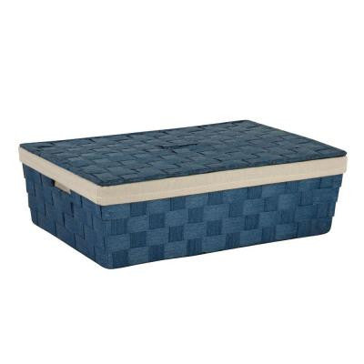 23.5 in. x 6.5 in. Blue Paper Rope Underbed Basket
