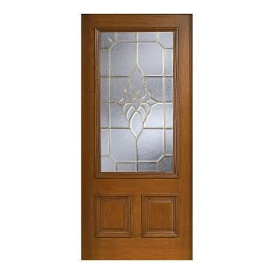 36 in. x 80 in. Mahogany Type Prefinished Cherry Beveled Brass 3/4 Glass Solid Wood Front Door Slab