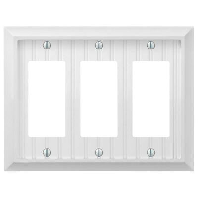 Cottage 3 Gang Decora Wall Plate - White