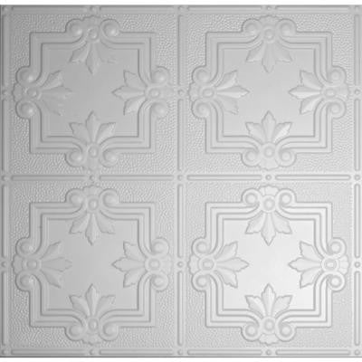 Dimensions 2 ft. x 2 ft. Matte White Lay-in Tin Ceiling Tile for T-Grid Systems