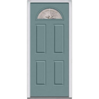 30 in. x 80 in. Heirloom Master Decorative Glass 1/4 Lite Painted Fiberglass Smooth Prehung Front Door