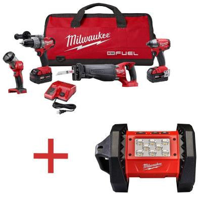 M18 FUEL 18-Volt Brushless Hammer Drill/Impact Driver/Sawzall/LED Light Combo Kit with Free M18 LED Flood Flash Light