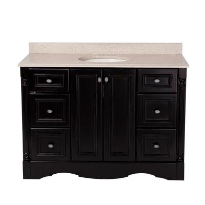 Valencia 48 in. Vanity in Antique Black with Colorpoint Vanity Top in Maui